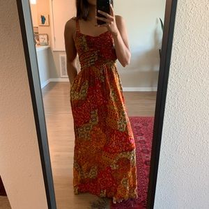 Patterned Red Maxi Dress
